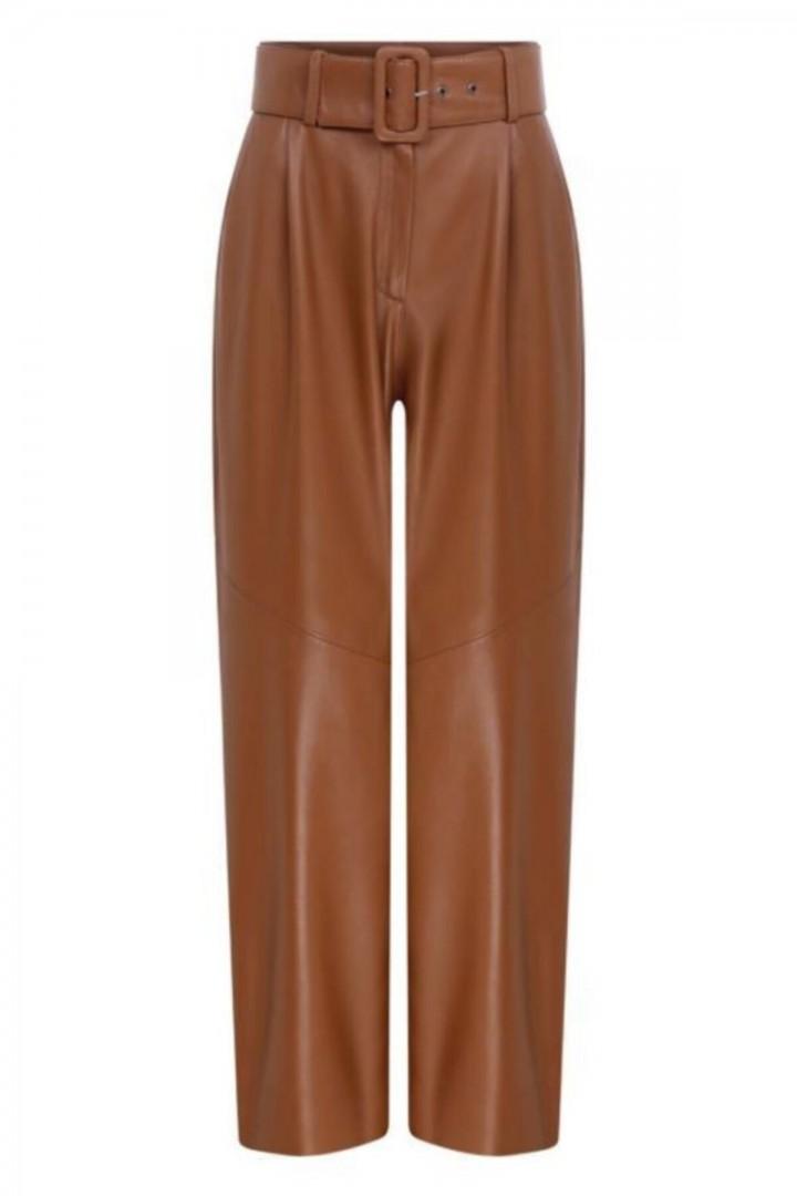 Helen Yüksek Bel Deri Pantalon