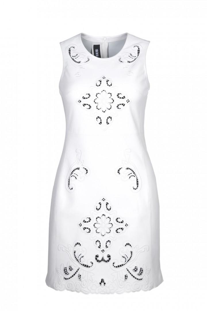 Kadın Beyaz Piko Nakış İşlemeli Tasarım Elbise