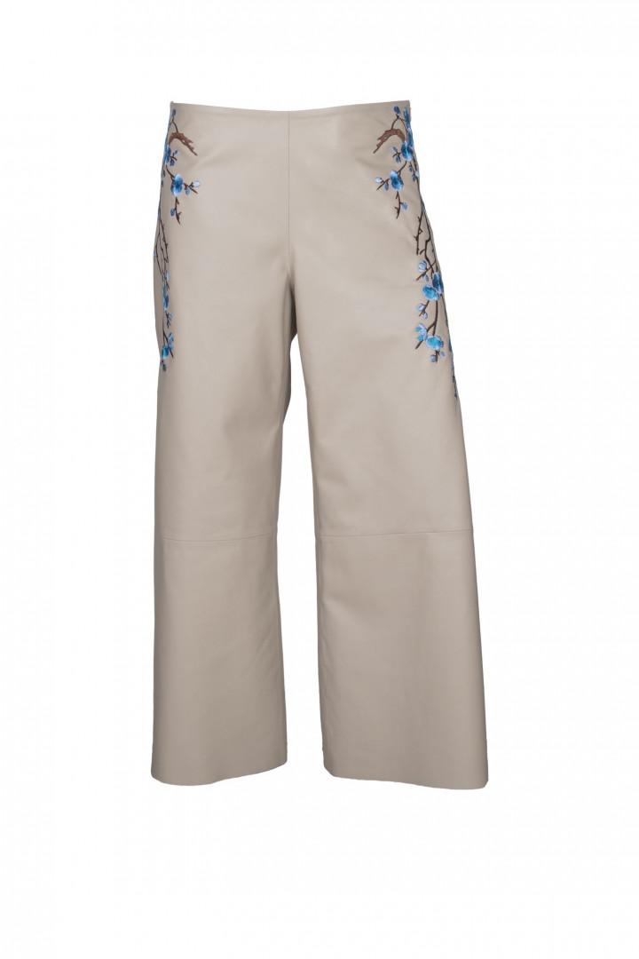 Kadın Krem Culotte Nakış İşlemeli Hakiki Deri Pantalon